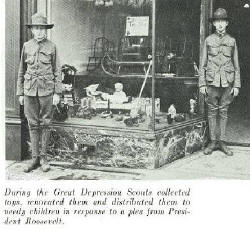 Scouts assisting with Scrap Drive during the Great Depression.     Click for Larger Image