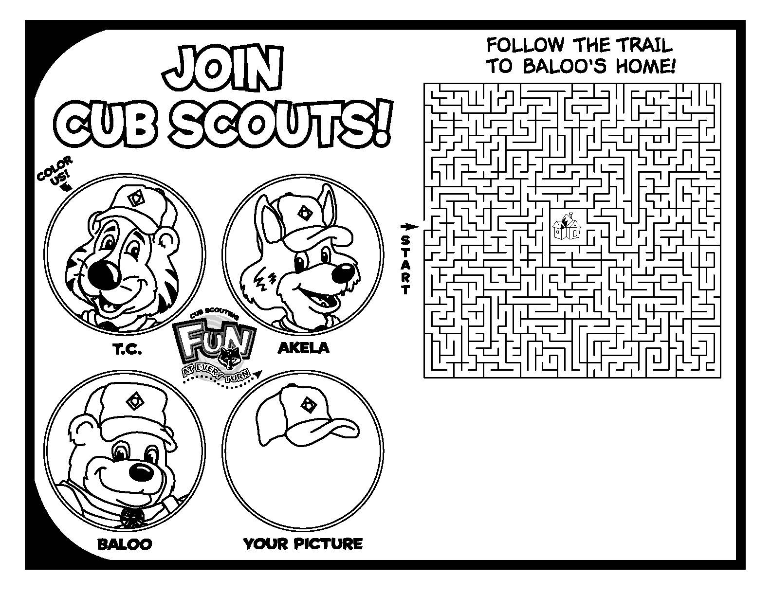 It is a picture of Vibrant Cub Scout Printable Activities